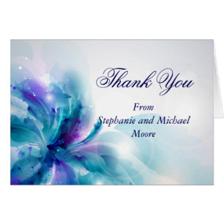 Blue and Purple Floral Design Thank You Note Card