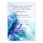 Blue and Purple Floral Design Wedding Invitation