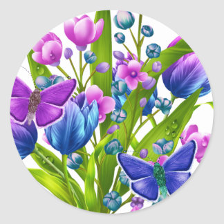 Blue and Purple Floral Sticker with Butterflies