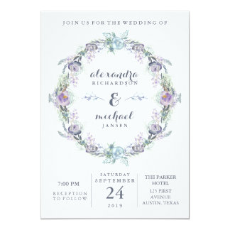 Blue and Purple Floral Wreath Wedding Card