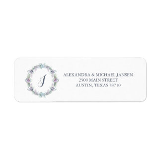 Blue and Purple Floral Wreath Wedding Monogram Return Address Label