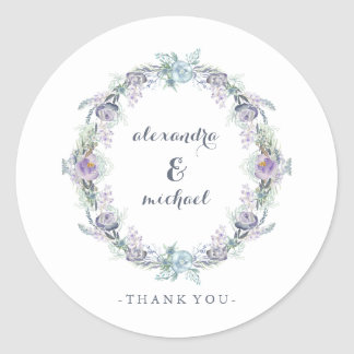 Blue and Purple Floral Wreath Wedding Thank You Classic Round Sticker