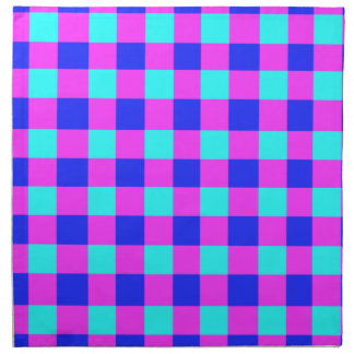 Blue and Purple Gingham Pattern Cloth Napkins
