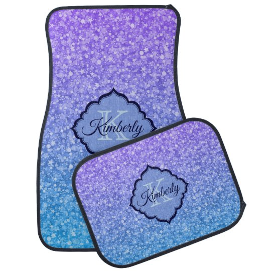 Blue And Purple Glitter Car Mat