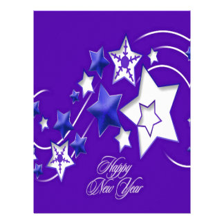 Blue and Purple Happy New Year Shooting Stars Letterhead Design