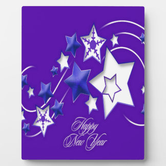 Blue and Purple Happy New Year Shooting Stars Plaque