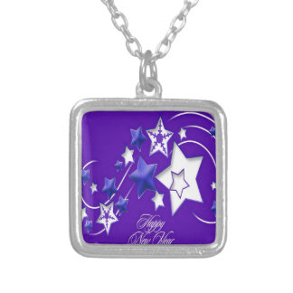 Blue and Purple Happy New Year Shooting Stars Silver Plated Necklace