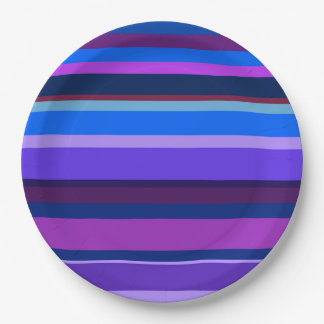Blue and purple horizontal stripes 9 inch paper plate