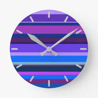 Blue and purple horizontal stripes clock