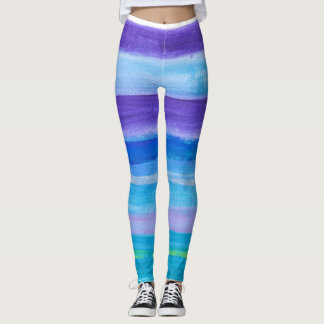Blue and purple horizontal stripes in paint leggings