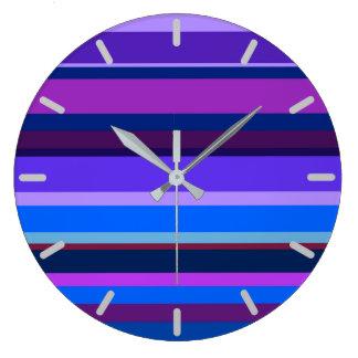 Blue and purple horizontal stripes wallclock