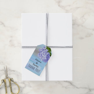 Blue and purple hydrangea floral wedding Thank You Gift Tags