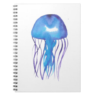 Blue and Purple Jellyfish Spiral Notebook