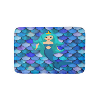 Blue and purple large mermaid scales and mermaid bath mat
