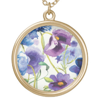 Blue and Purple Mixed Garden Gold Plated Necklace