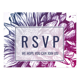 Blue and Purple Ombre Sunflowers Song Request RSVP Postcard