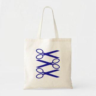 Blue and Purple Scissors / Scissor Stripes Tote Bag