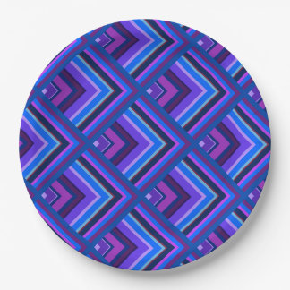 Blue and purple stripes scale pattern 9 inch paper plate