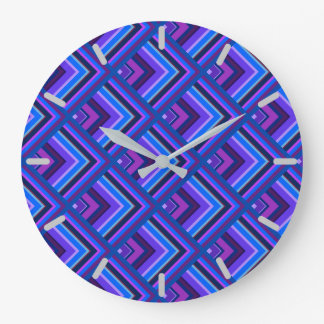 Blue and purple stripes scale pattern wall clock