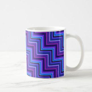 Blue and purple stripes stairs coffee mug