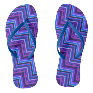 Blue and purple stripes stairs flip flops