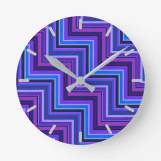 Blue and purple stripes stairs wall clock