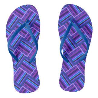 Blue and purple stripes weave flip flops