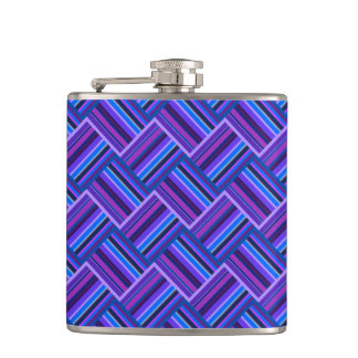 Blue and purple stripes weave hip flask