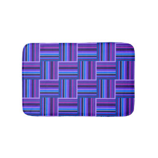 Blue and purple stripes weave pattern bath mat