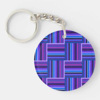 Blue and purple stripes weave pattern keychain