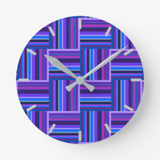 Blue and purple stripes weave pattern wall clock