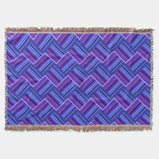 Blue and purple stripes weave throw blanket