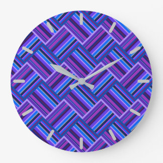 Blue and purple stripes weave wall clock