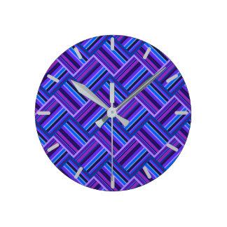 Blue and purple stripes weave wallclock