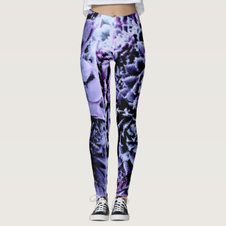 Blue and purple succulents on black leggings