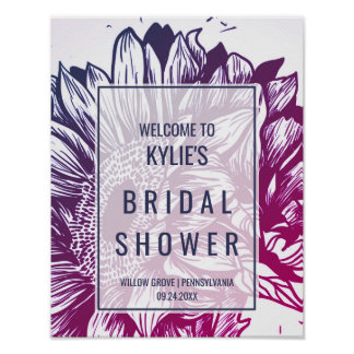 Blue and Purple Sunflowers Bridal Shower Welcome Poster