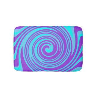 Blue and purple swirl pattern bath mat