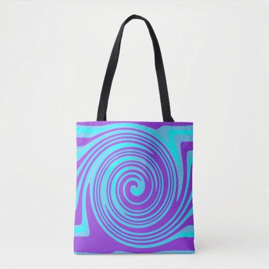 Blue and purple swirl pattern tote bag