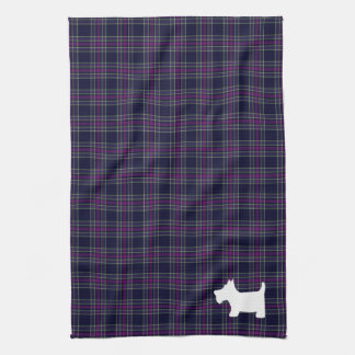 Blue and Purple Tartan Plaid with Scottie Dog Kitchen Towel