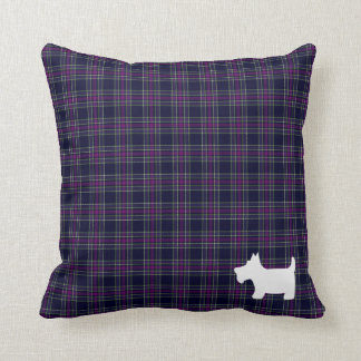 Blue and Purple Tartan Plaid with Scottie Dog Throw Pillow