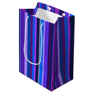 Blue and purple vertical stripes medium gift bag