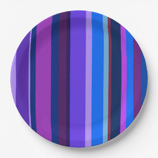 Blue and purple vertical stripes paper plate