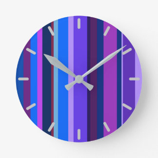 Blue and purple vertical stripes wall clock