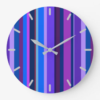 Blue and purple vertical stripes wallclock