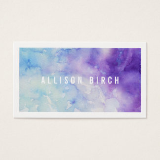Blue and Purple Watercolor Business Card