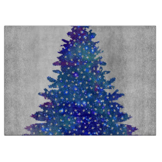 Blue and Purple watercolor christmas tree Boards