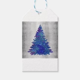 Blue and Purple watercolor christmas tree Gift Tags