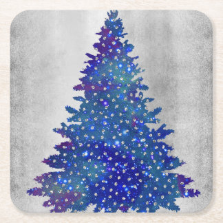 Blue and Purple watercolor christmas tree Square Paper Coaster