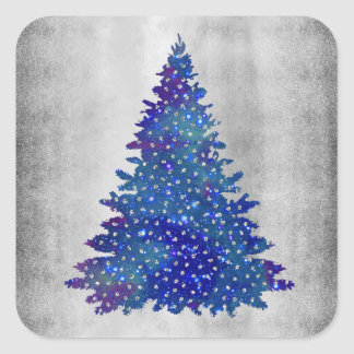 Blue and Purple watercolor christmas tree Square Sticker