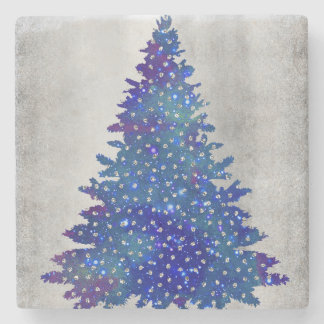 Blue and Purple watercolor christmas tree Stone Coaster